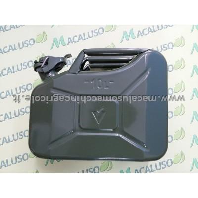 Tanica in metallo da 10 litri verde, serbatoio, bidone, recipiente, LT M010