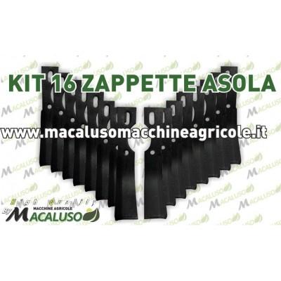 16 Zappette asola curva universale x motozappa 40x6 zappa zappetta fresa lama kit serie
