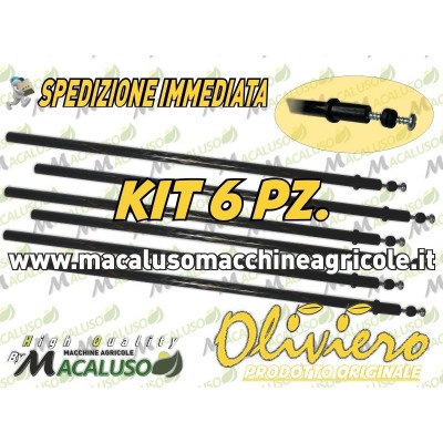 Kit 6 aste in carbonio per abbacchiatore Oliviero Light Synthesis Classic Evolution L-Tech E-Tech astina viti e gommini