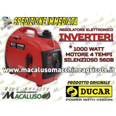 Gruppo elettrogeno INVERTER Ducar D1000i 1000 Watt 4 tempi generatore monofase silenzioso portatile