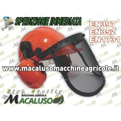 Elmetto K4104 professionale da boscaiolo con visiera a rete e cuffie, casco