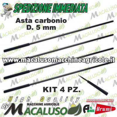 Kit 4 asta in carbonio abbacchiatore Olispeed Special Brumi mm 5 attacco mm 8 lunghezza mm 360 asticina