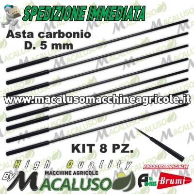 Kit 6 asta in carbonio abbacchiatore Olispeed Special Brumi mm 5 attacco mm 8 lunghezza mm 360 asticina