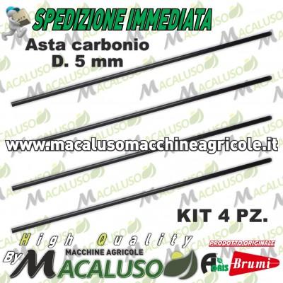 Kit 4 asta in carbonio abbacchiatore Olispeed Brumi mm 5 Lunghezza mm 360 asticina