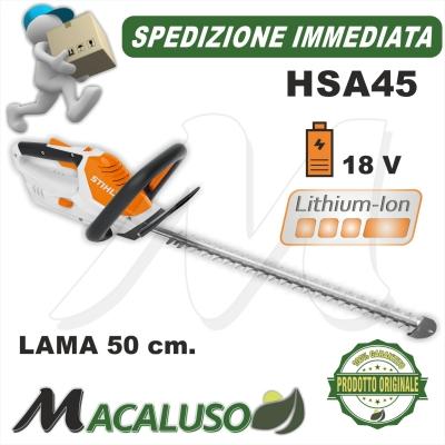 Tagliasiepe a batteria integrata Stihl HSA 45 tosasiepi hobby giardino 45110113500