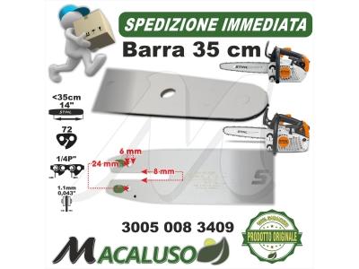 """Barra Stihl 14/"""" Cm.35 per motosega MS193T passo 1//4P/"""" da mm.1,1 maglie 72"""
