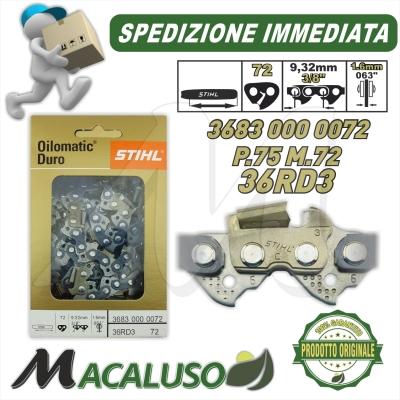 """Catena Motosega Diamantata STIHL Rapid Duro Widia 3/8"""" 72 Maglie spessore 1,6 mm 36830000072"""