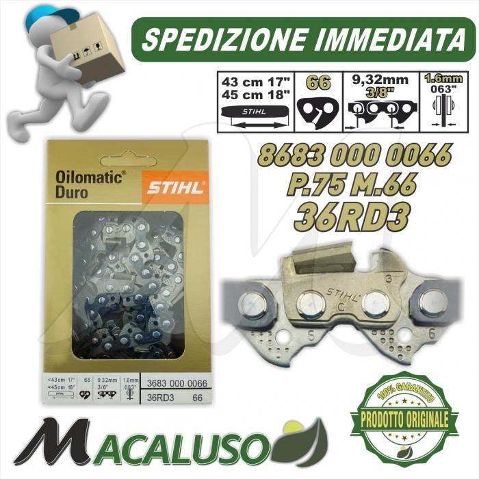 """Catena Motosega Diamantata STIHL Picco Duro Widia 3//8/"""" 56 Maglie spessore 1,3 mm"""