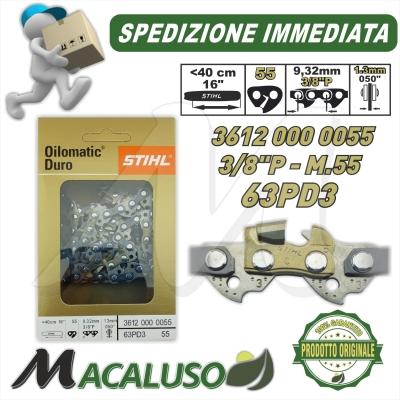 """Catena Motosega Diamantata STIHL Picco Duro Widia 3/8"""" 55 Maglie spessore 1,3 mm 36120000055"""