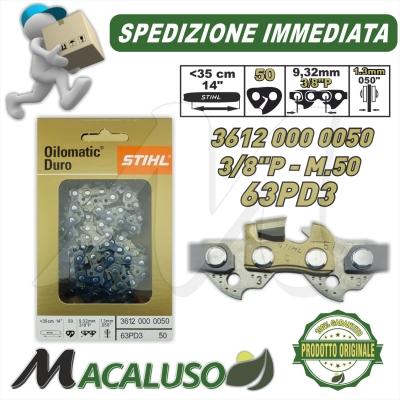 """Catena Motosega Diamantata STIHL Picco Duro Widia 3/8"""" 50 Maglie spessore 1,3 mm 36120000050"""