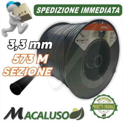Filo nylon Stihl tondo nero mm 3,3 x 573 mt decespugliatore testina 00009302569