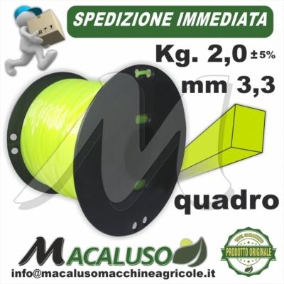 Filo nylon decespugliatore quadro mm 3,3 Kg 2 uso professionale
