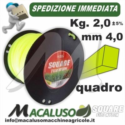 Filo nylon decespugliatore quadro mm 4,0 Kg 2 uso professionale testina giallo verde