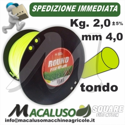 Filo nylon decespugliatore Tondo mm 4,0 Kg 2 uso professionale testina giallo verde