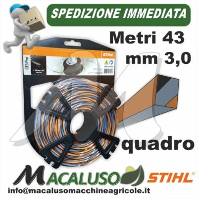 Filo nylon Stihl quadrato da mm.3,0 x 43 mt 00009304305 decespugliatore