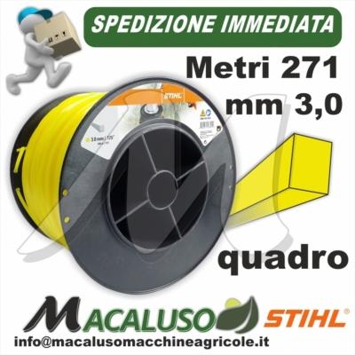 Filo nylon Stihl quadrato giallo da mm 3,0 x 271 mt 00009302620 decespugliatore quadro