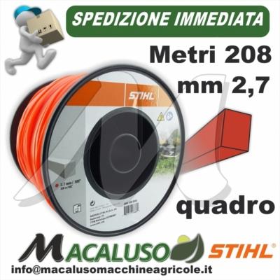 Filo nylon Stihl quadrato rosso da mm 2,7 x 208 mt 00009302616 decespugliatore quadro