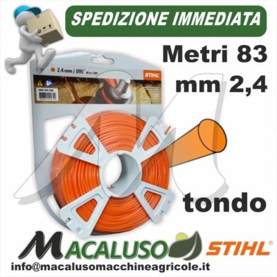 Filo nylon Stihl tondo arancio mm 2,4 x 83 mt. 00009302340 decespugliatore arancione