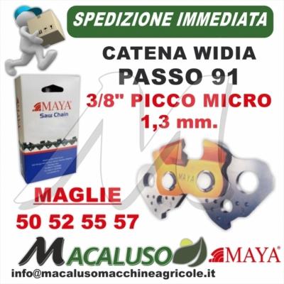 "Catena Motosega Diamantata Maya Picco Duro Widia Passo 91 3/8"" 1,3 mm 50 52 55 57 maglie"