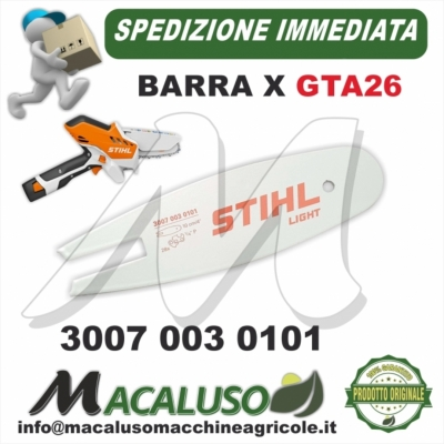 "Barra Stihl 4"" Cm.10 Potatore GTA26 passo 1/4 da mm.1,1 maglie 28 GTA 26 30070030101 spranga"