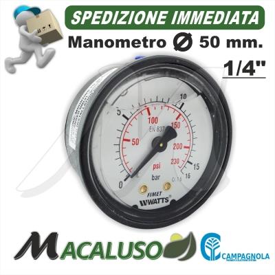 "Manometro glicerina d. 50 mm 1/4"" M. bombola aria moto compressore Campagnola Hobby Professional kit serbatoio 0116 0107"